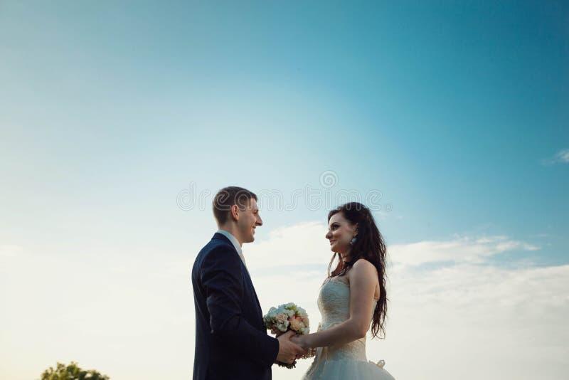 Giovane sposa castana splendida e tenersi per mano affascinante dello sposo immagini stock libere da diritti