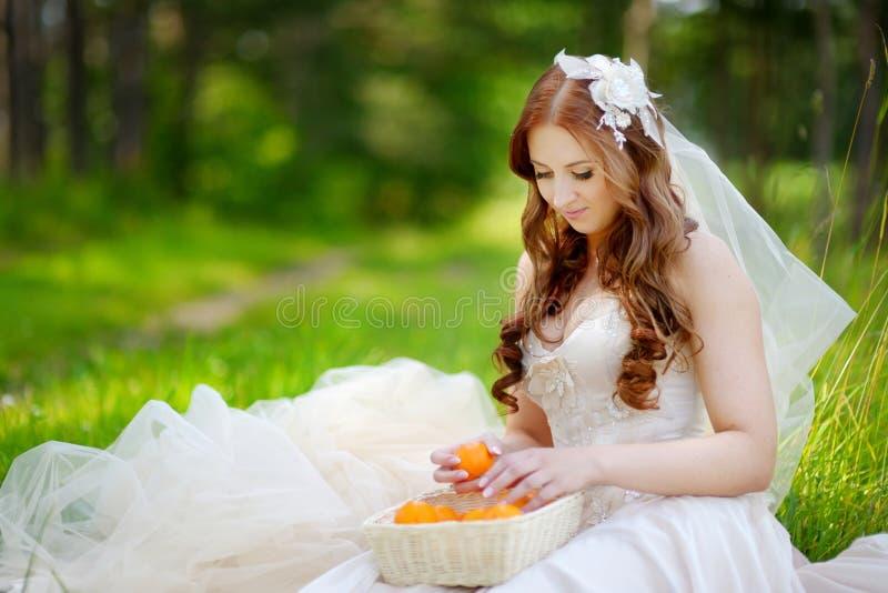 Giovane sposa che si siede su un'erba fotografie stock libere da diritti
