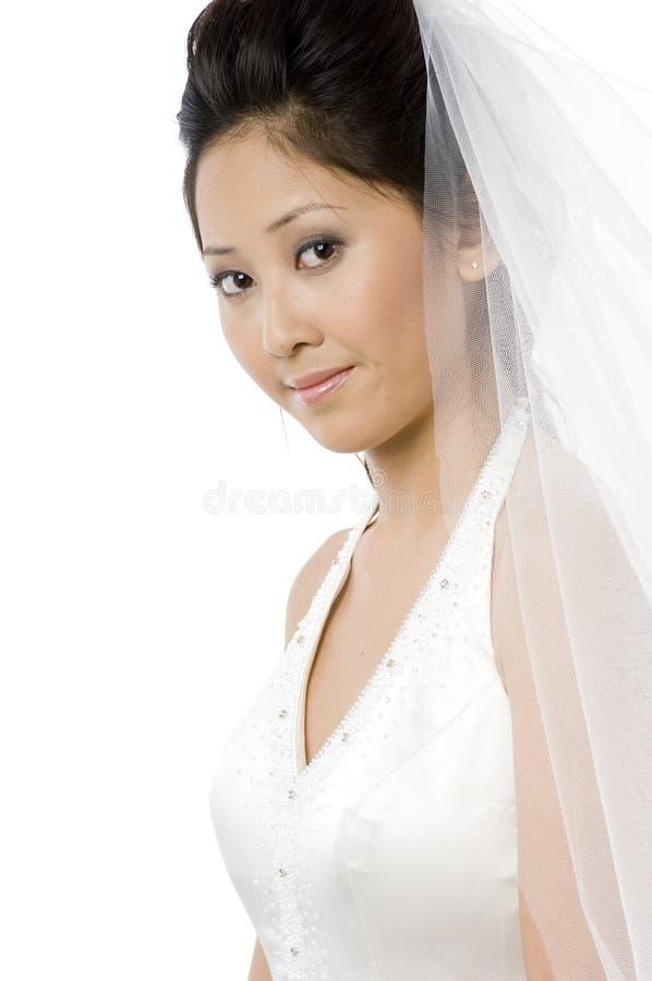 Giovane sposa con il velare fotografia stock