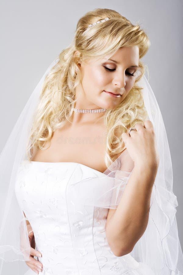 Giovane sposa felice con il velare fotografia stock