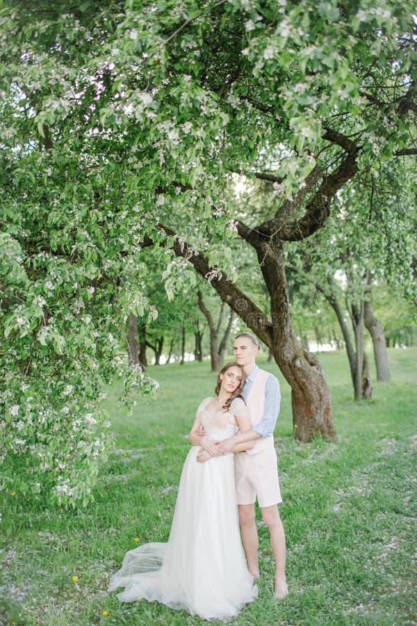 Giovane sposa graziosa in vestito da sposa con lo sposo bello all'aperto fotografia stock