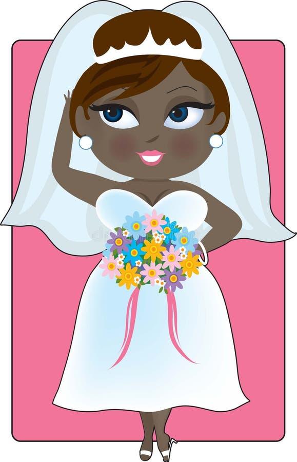 Giovane sposa nera illustrazione vettoriale