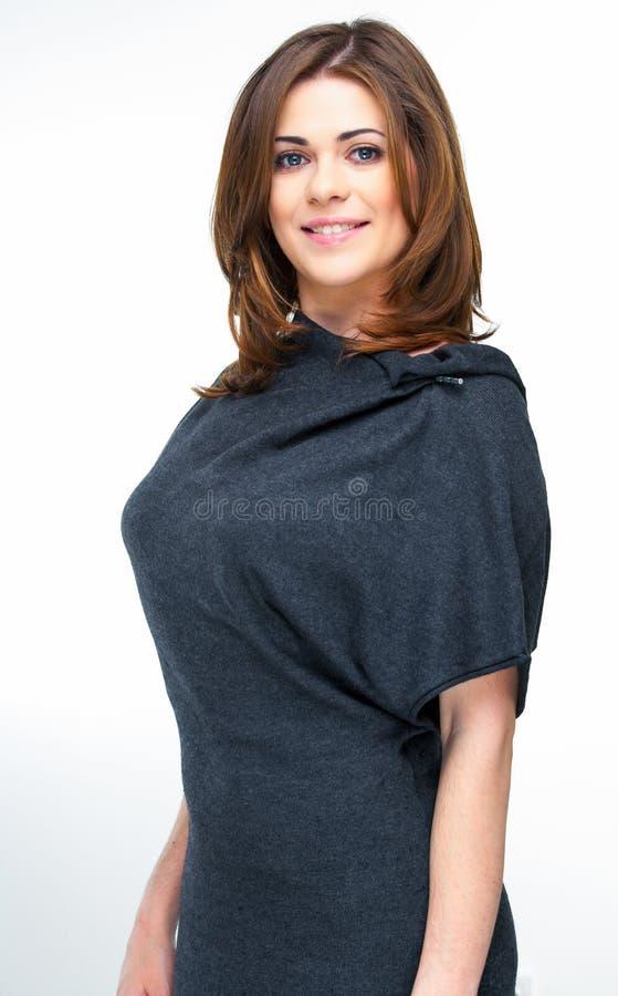 Giovane stile casuale della donna isolato sopra backgroun bianco fotografie stock libere da diritti