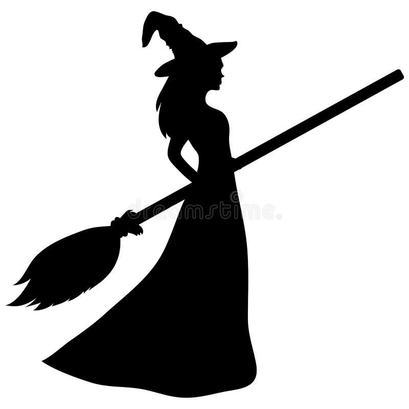 Giovane strega con una siluetta della scopa illustrazione vettoriale