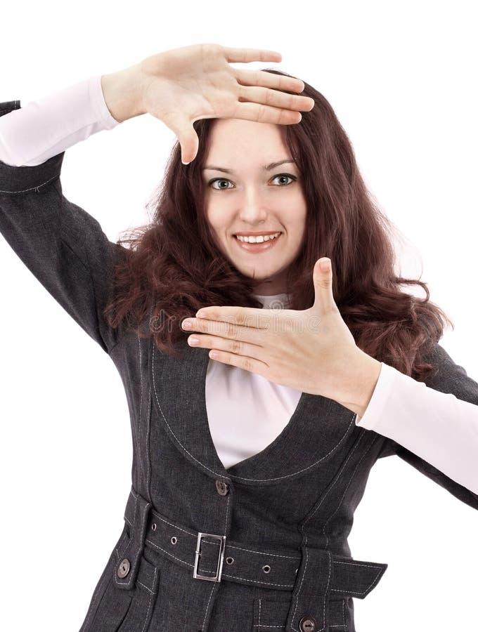 Giovane struttura di rappresentazione della donna di affari inavvertitamente Isolato su bianco immagine stock