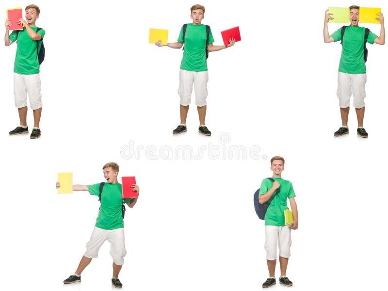 Giovane studente con lo zaino e note isolate su bianco immagini stock