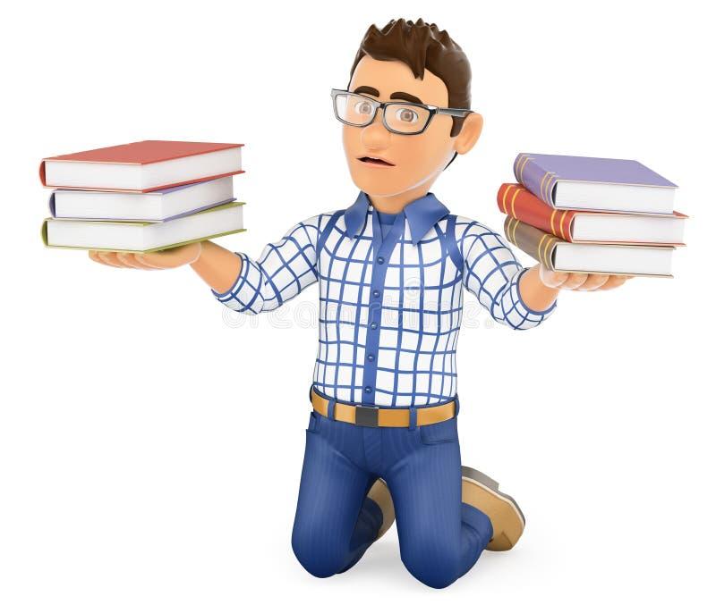 giovane studente 3D punito tenendo i libri illustrazione vettoriale