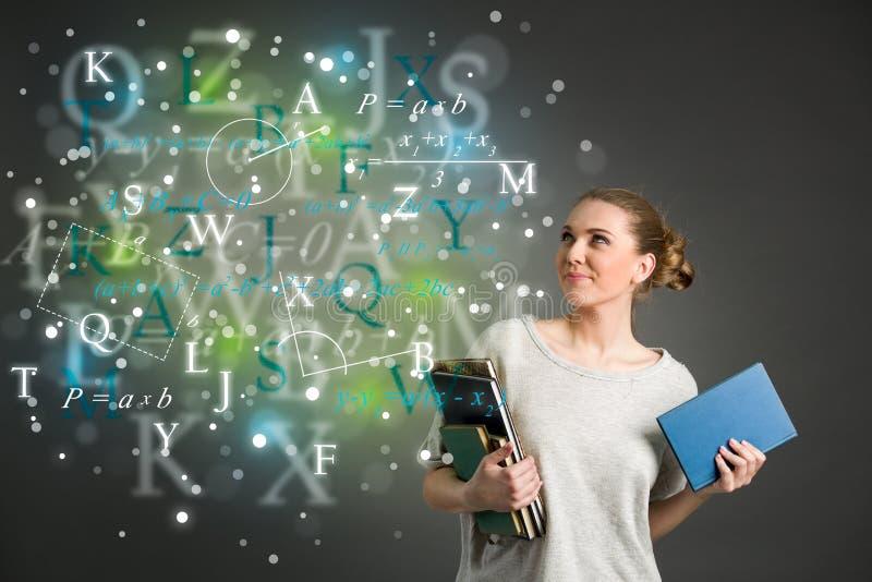 Giovane studentessa con le nuvole delle formule luminose, numeri, le illustrazione vettoriale