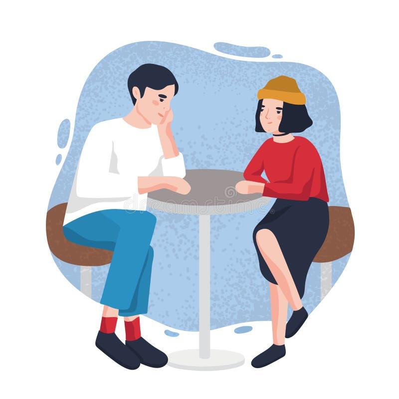 Giovane sveglio e donna che si siedono alla tavola del caffè e che se esaminano Coppie moderne adorabili alla data al ristorante illustrazione di stock