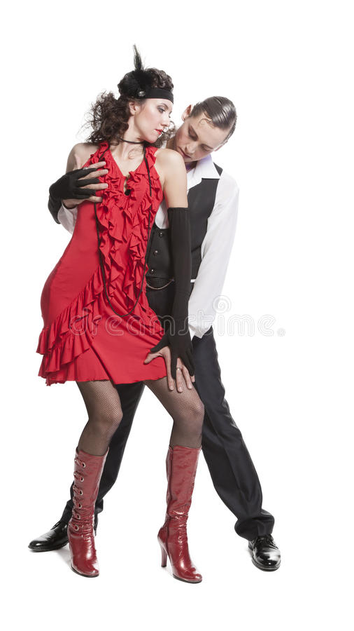 Giovane tango di dancing delle coppie fotografia stock libera da diritti