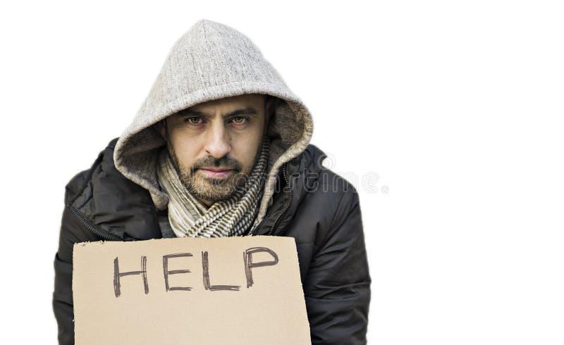Giovane tipo povero con aiuto di ricerca del segno del cartone fotografie stock