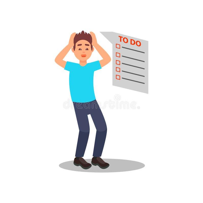 Giovane tipo sollecitato con molto lavoro Lungamente fare la lista ha esaurito l'uomo che si tiene per mano sulla sua testa Proge illustrazione di stock