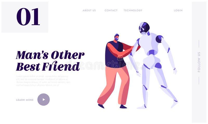 Giovane uomo allegro che tiene a mano cyborg enorme Robot nella vita umana, sviluppo tecnologico di intelligenza artificiale, sci illustrazione vettoriale