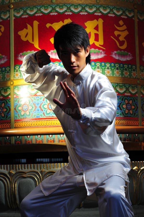 Giovane uomo asiatico in una lotta fotografia stock