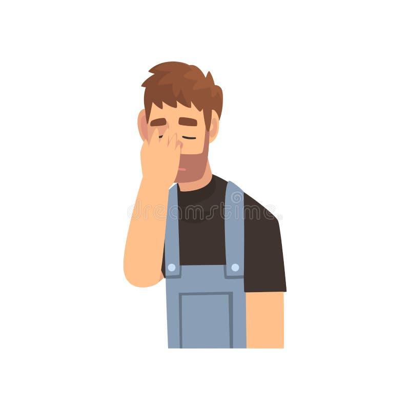 Giovane uomo barbuto in in generale che coprono il suo fronte di mano, Guy Making Facepalm Gesture, vergogna, emicrania, delusion illustrazione di stock