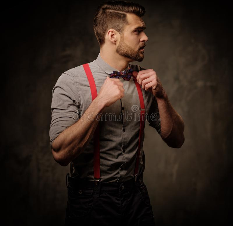 Giovane uomo bello con le bretelle ed il farfallino d'uso della barba, posanti sul fondo scuro immagini stock