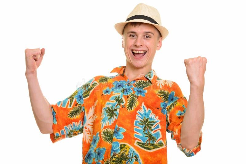 Giovane uomo caucasico felice che sorride e che sembra motivato fotografia stock libera da diritti