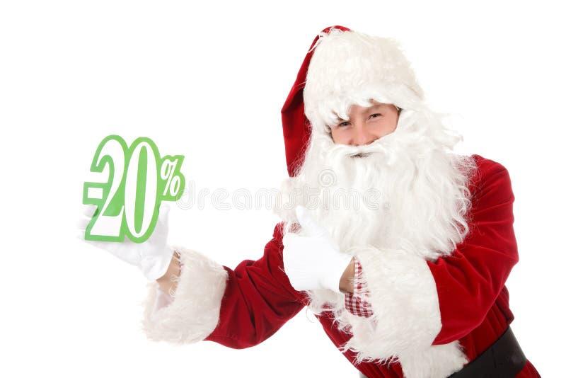 Giovane uomo caucasico il Babbo Natale, sconto fotografia stock