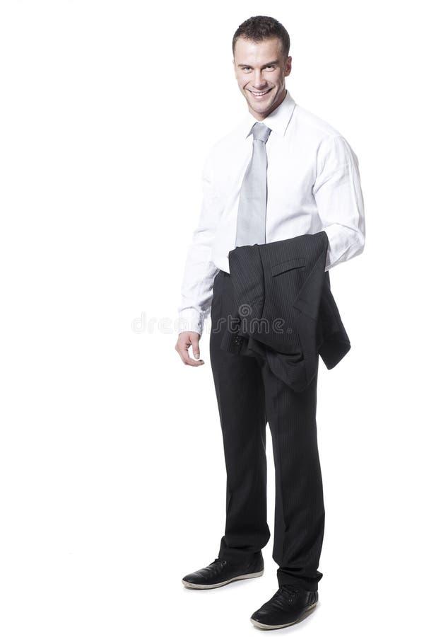 Giovane uomo d'affari allegro isolato immagine stock
