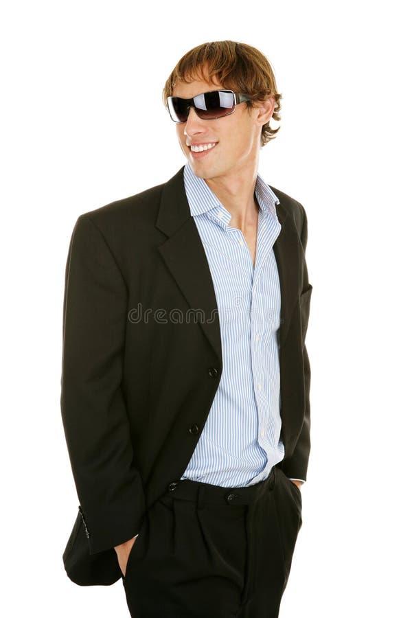 Giovane uomo d'affari casuale in occhiali da sole immagini stock