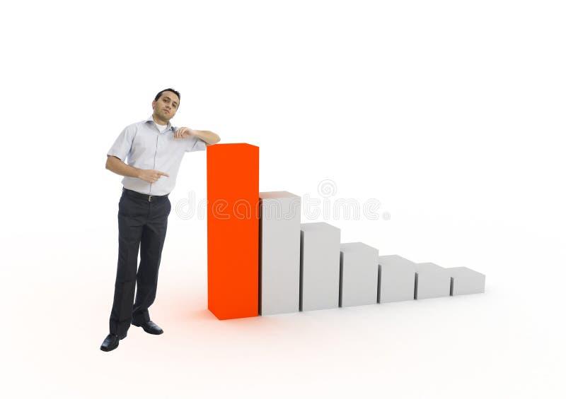 Giovane uomo d'affari che mostra diagramma fotografia stock