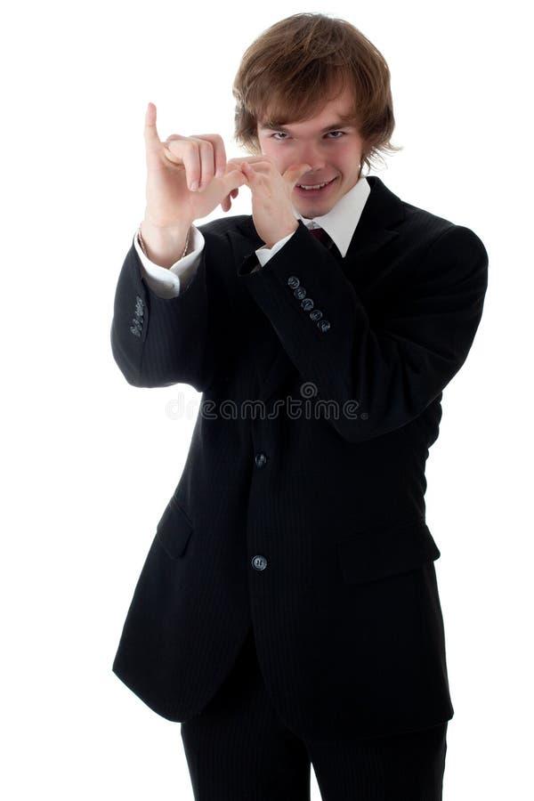 Giovane uomo d'affari che presenta progetto immagine stock