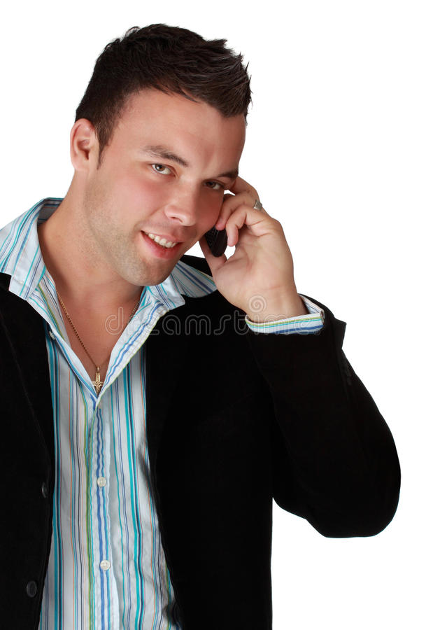 Giovane uomo d'affari con il telefono delle cellule immagini stock libere da diritti