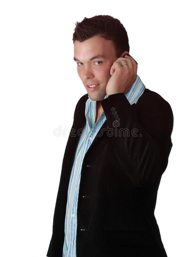 Giovane uomo d'affari con il telefono delle cellule immagine stock libera da diritti