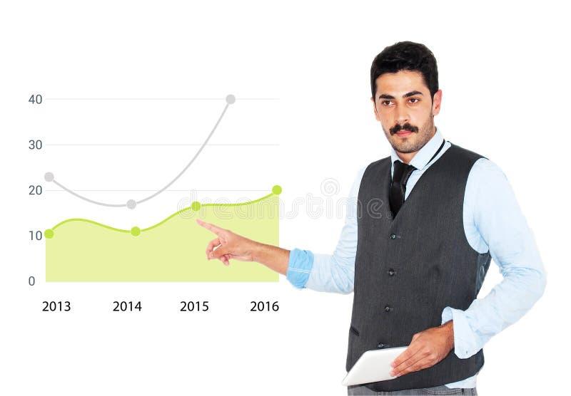 Giovane uomo d'affari dei baffi che dà presentazione di affari immagine stock libera da diritti