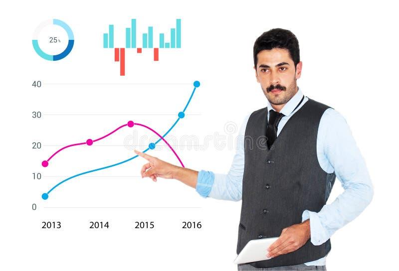 Giovane uomo d'affari dei baffi che dà presentazione di affari immagini stock