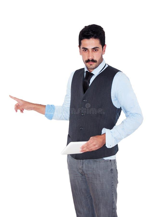 Giovane uomo d'affari dei baffi che dà presentazione di affari fotografia stock libera da diritti