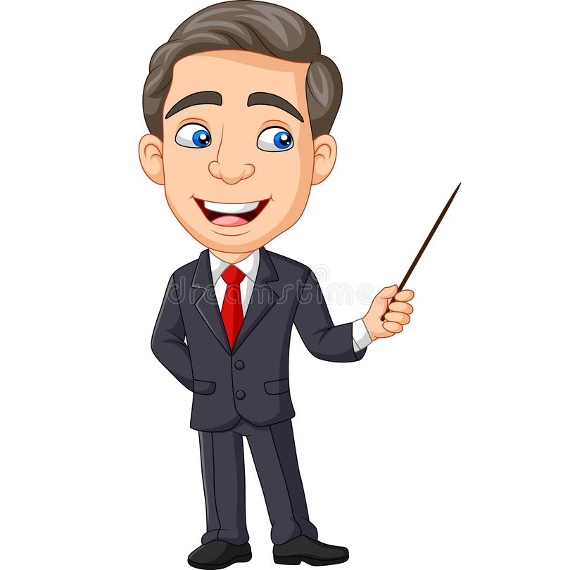 Giovane uomo d'affari del fumetto che presenta con un puntatore illustrazione di stock
