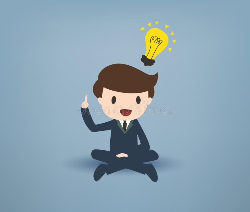 Giovane uomo d'affari di Cartooned con la lampadina sopraelevata royalty illustrazione gratis