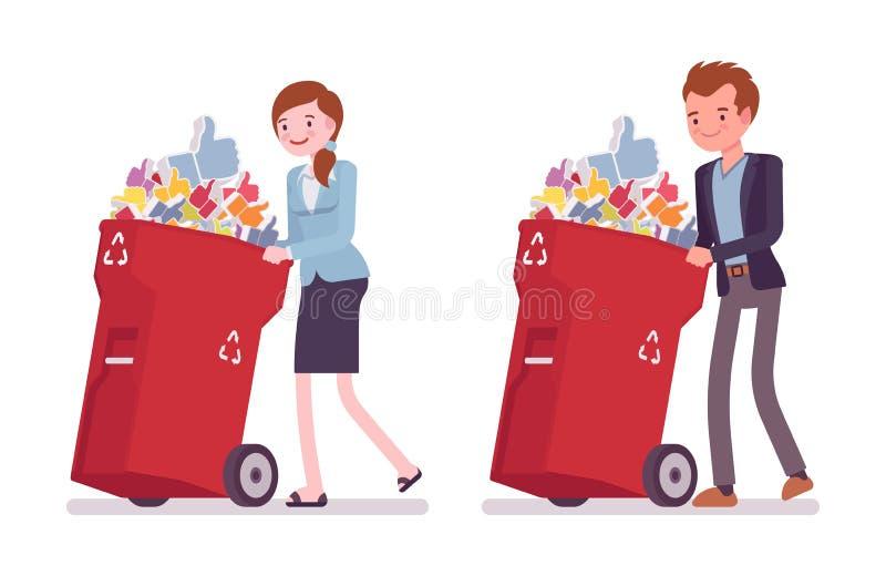 Giovane uomo d'affari e donna di affari che spingono i bidoni della spazzatura a ruote con i simili illustrazione di stock