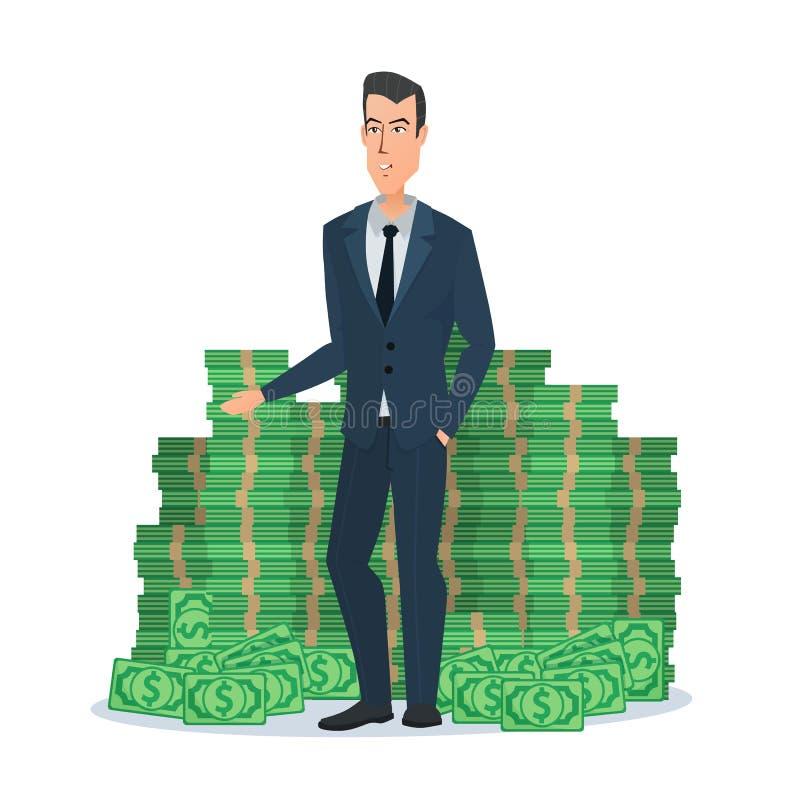 Giovane uomo d'affari felice che sta vicino ad un mucchio enorme di verde illustrazione di stock