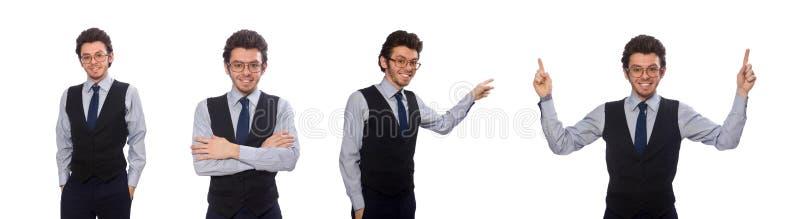 Giovane uomo d'affari nel concetto divertente su bianco immagini stock