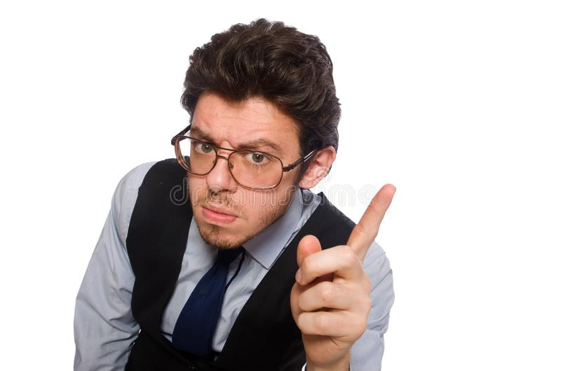 Giovane uomo d'affari nel concetto divertente su bianco immagine stock