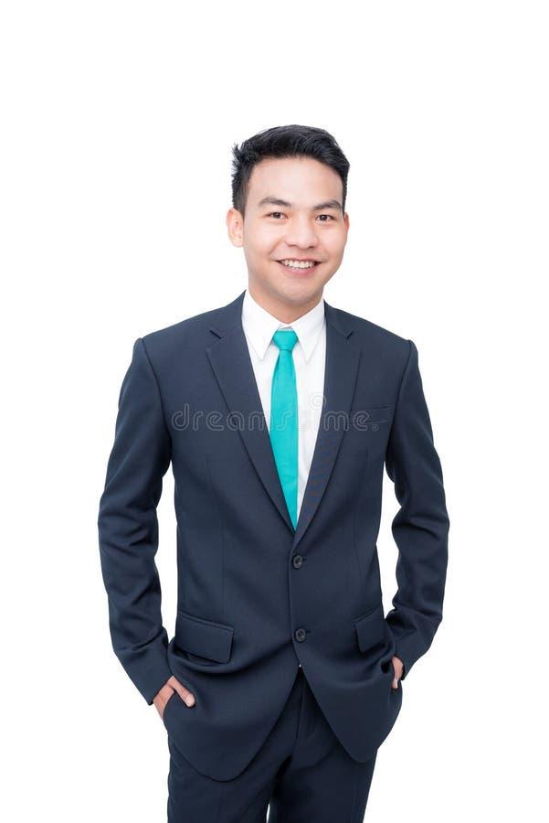 Giovane uomo d'affari sopra bianco fotografie stock