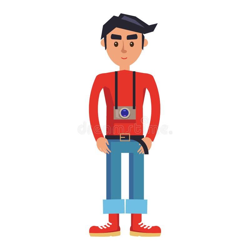 Giovane uomo dei pantaloni a vita bassa con il personaggio dei cartoni animati della macchina fotografica royalty illustrazione gratis