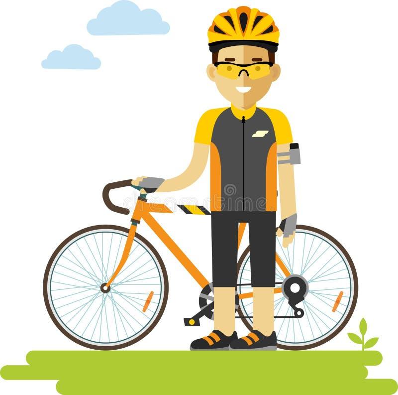 Giovane uomo del corridore ciclista con la bici nello stile piano illustrazione vettoriale