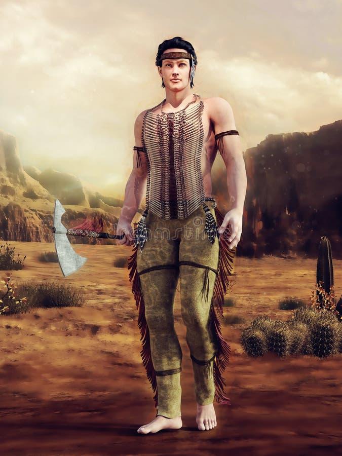 Giovane uomo del nativo americano con un tomahawk illustrazione vettoriale