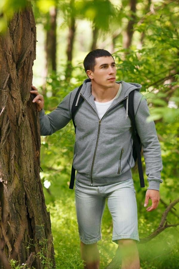 Giovane uomo della viandante con lo zaino che cammina nel maschio di viaggio della foresta di estate che sta vicino ad un grande  fotografia stock