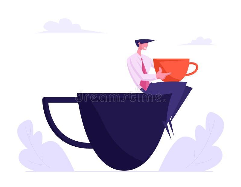 Giovane uomo di affari in vestito convenzionale che si rilassa sulla pausa caffè che si siede sulla tazza enorme, carattere masch illustrazione vettoriale