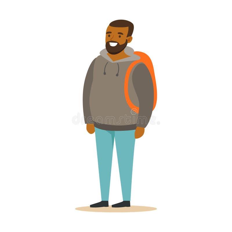 Giovane uomo di colore barbuto sorridente in una maglia con cappuccio grigia con lo zaino Illustrazione variopinta di vettore del illustrazione vettoriale