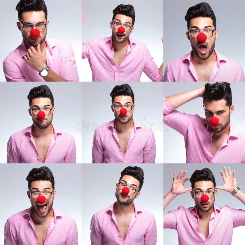 Giovane uomo di modo con il naso rosso immagini stock