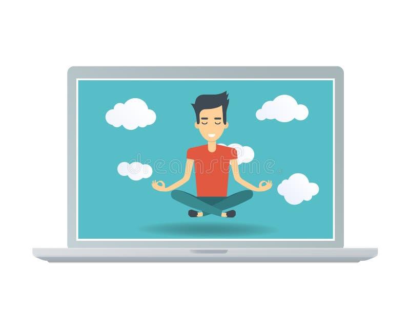 Giovane uomo felice nella posa di meditazione di zen sullo schermo del computer portatile fotografie stock