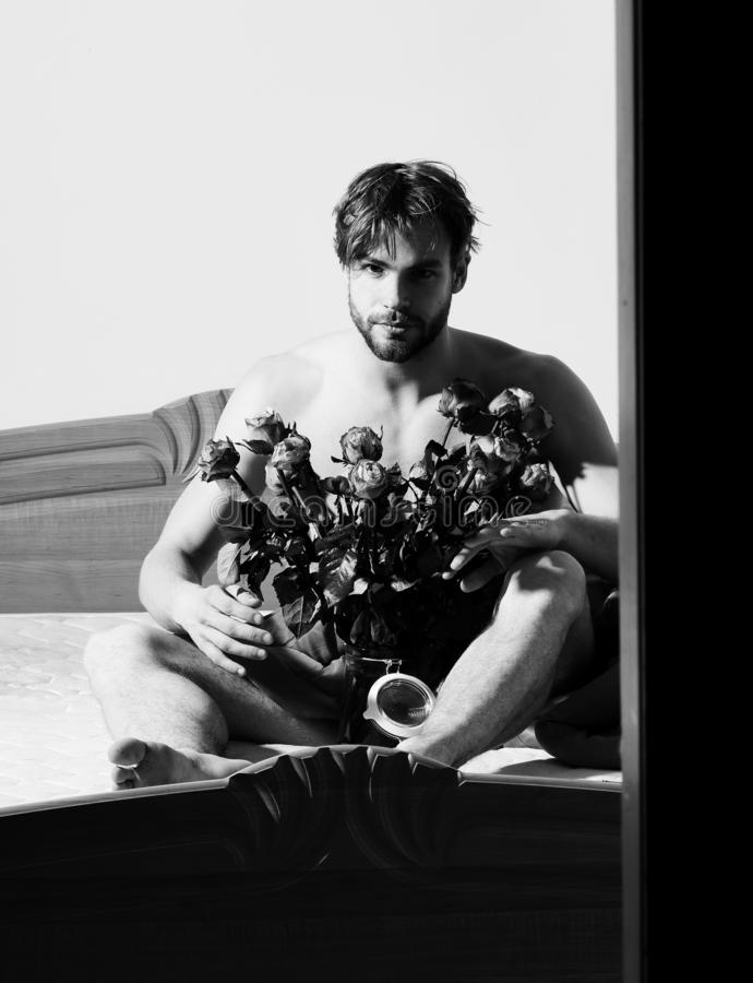 Giovane uomo macho sexy barbuto bello con la seduta alla moda della barba nuda sul letto sotto la coperta rossa con il mazzo dell fotografia stock libera da diritti