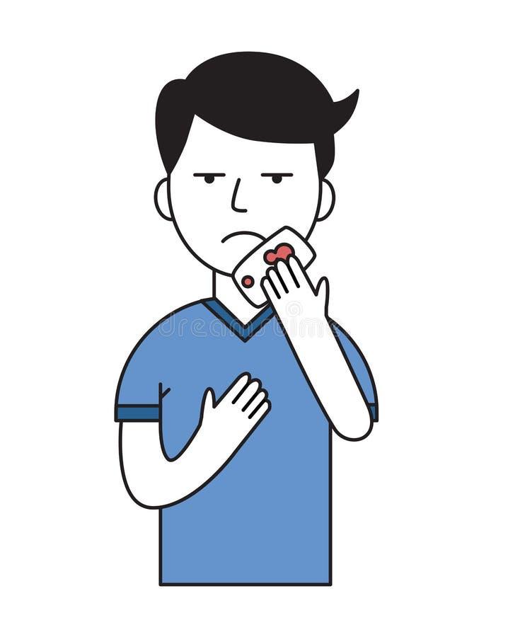 Giovane uomo malato con il fazzoletto in sua mano affezione polmonare Icona di progettazione del fumetto Illustrazione piana di v illustrazione di stock