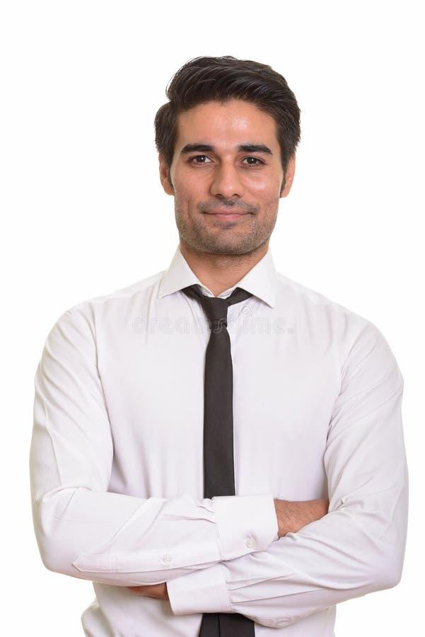 Giovane uomo persiano bello contro fondo bianco immagini stock libere da diritti