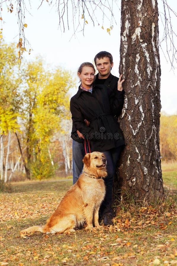 Giovani accoppiamenti con il cane immagini stock libere da diritti